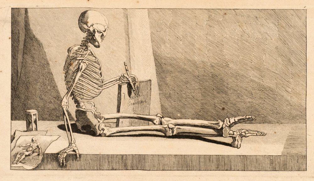 Jacques Gamelin, Squelette assis sur une pierre tombale, eau-forte, musée des Beaux-Arts de Carcassonne