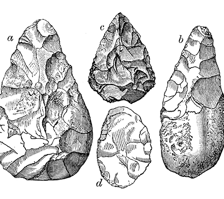 Antique illustration of Stone Age flint tools