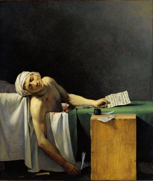 Marat assassiné, 13 juillet 1793, copie anonyme d'après l'œuvre de Jacques-Louis David, huile sur toile, 1794,Musée national des châteaux de Versailles et Trianon © Photographie Franck Raux, RMN-GP (Château de Versailles)