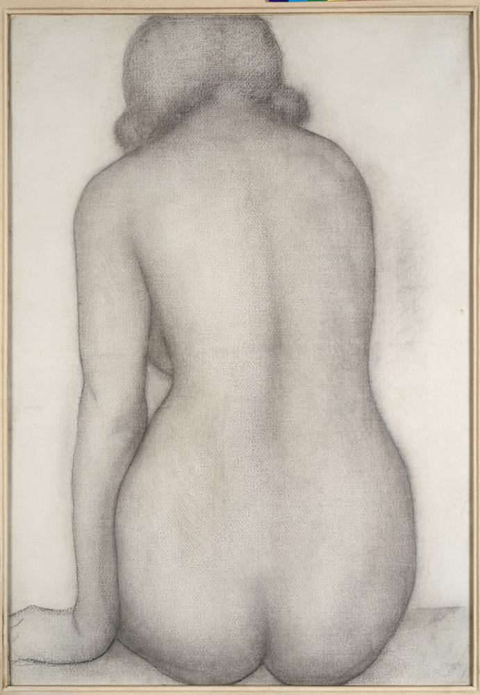 Aristide Maillol, Dos, assise (dessin pour le Debussy), 1930, fusain sur papier à la forme marouflé sur toile, Fondation Dina Vierny, musée Maillol, Paris.